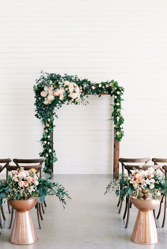 greenery-indoor-wedding-ceremony-idea-via-Emilie-Anne
